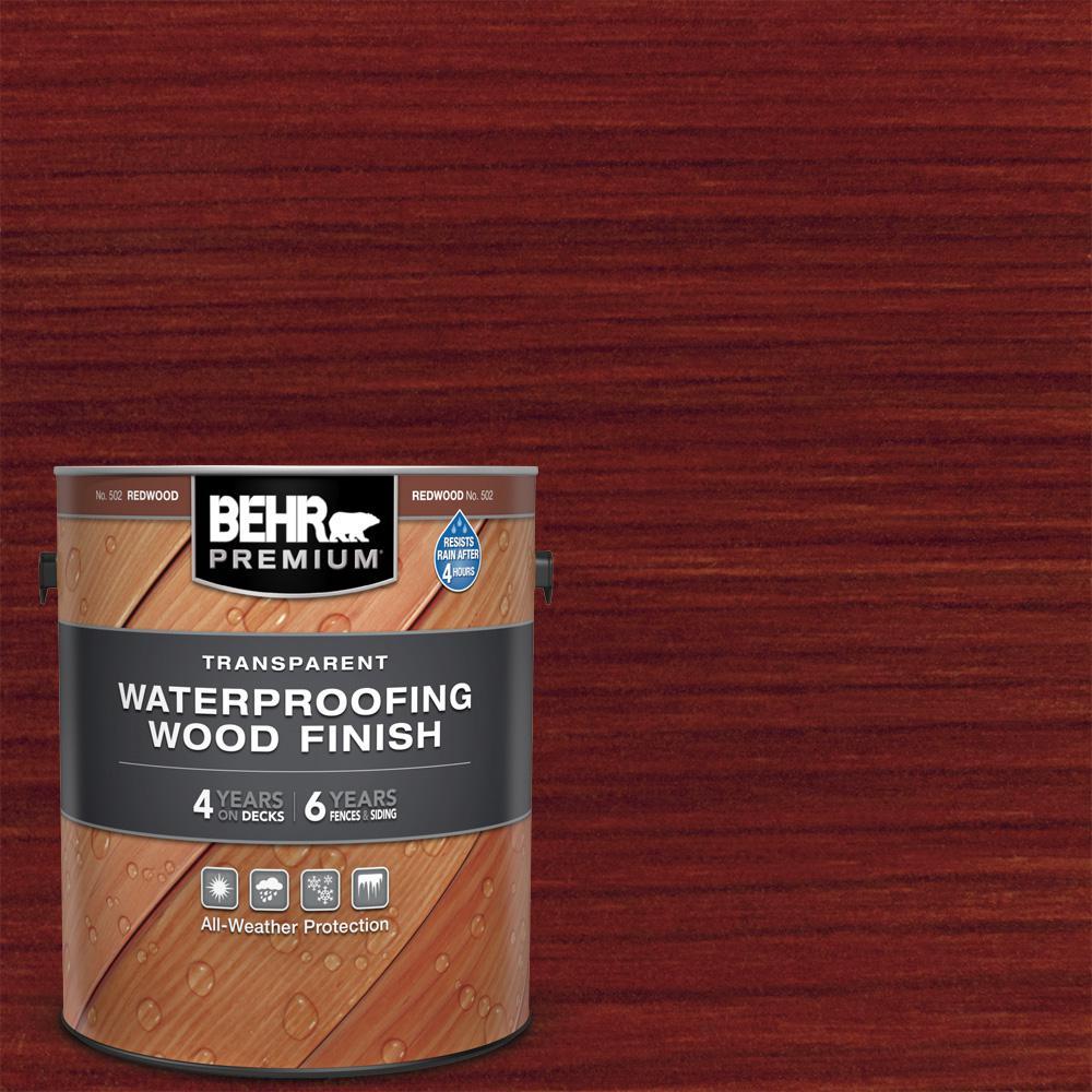 BEHR Premium 1 Gal. #T-330 Redwood Transparent Waterproofing Exterior Wood Finish