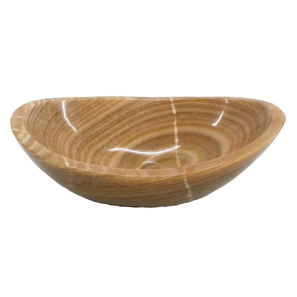 Eden Bath Stone Canoe Vessel Sink In Polished Brown Onyx