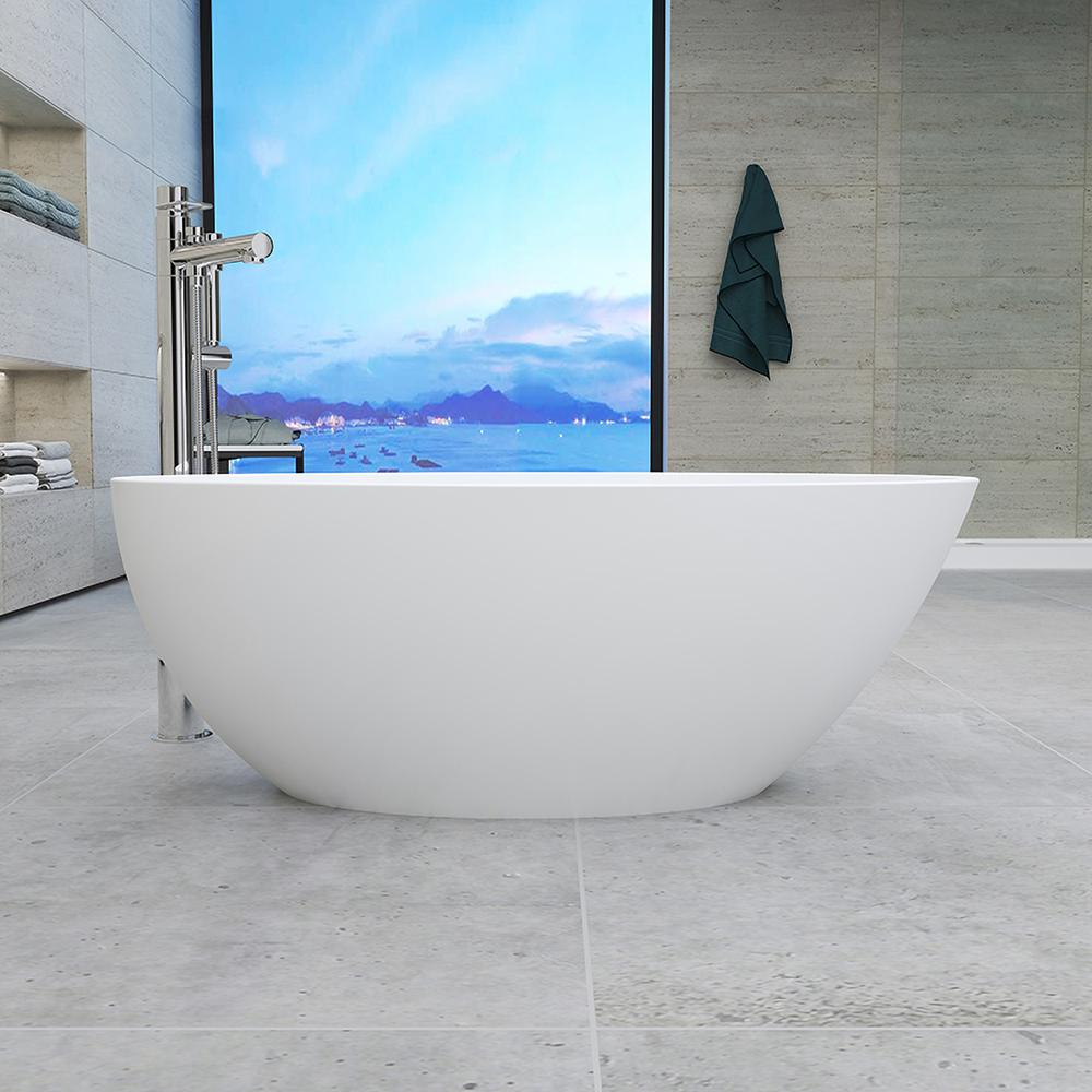 Vanity Art Calais 55 in. Acrylic Flatbottom Center Bathtub in White was $900.0 now $720.0 (20.0% off)