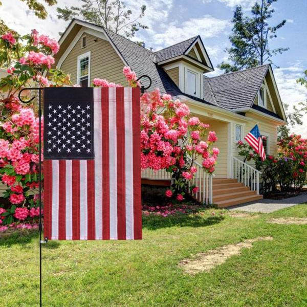 Anley 18 In X 12 5 In Embroidered Stars Usa Garden Flag American July 4th United States Flags Sewn Stripes And Double Stitch A Flag Garden Us Sewn The Home Depot