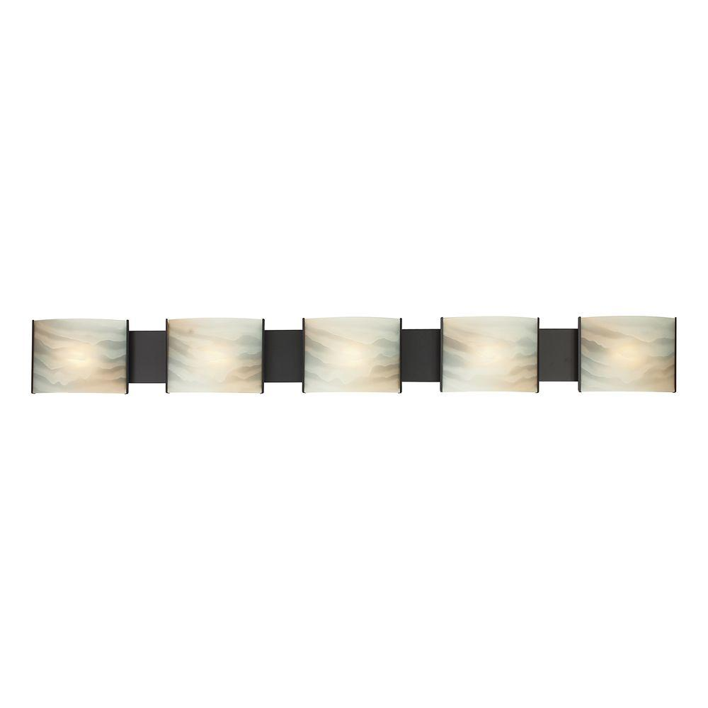Titan Lighting Pannelli 5-Light Oil Rubbed Bronze and Hand-Moulded ...