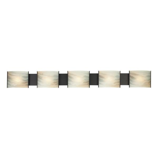 Pannelli 5-Light Oil Rubbed Bronze and Hand-Moulded Honey Alabaster Glass Vanity Light