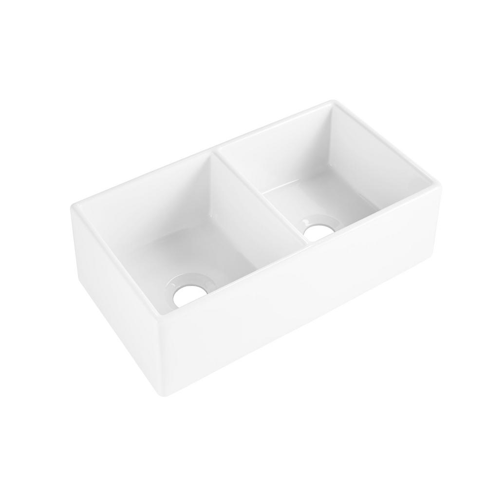 SINKOLOGY Brooks II Farmhouse/Apron-Front Fireclay 33 in. 50/50 Double Bowl Kitchen Sink in Crisp White