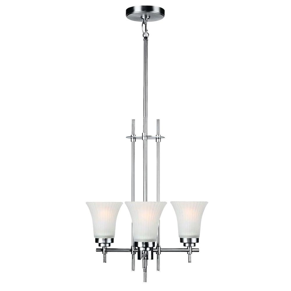 Illumine 3-Light Steel Chandelier with Frost Glass