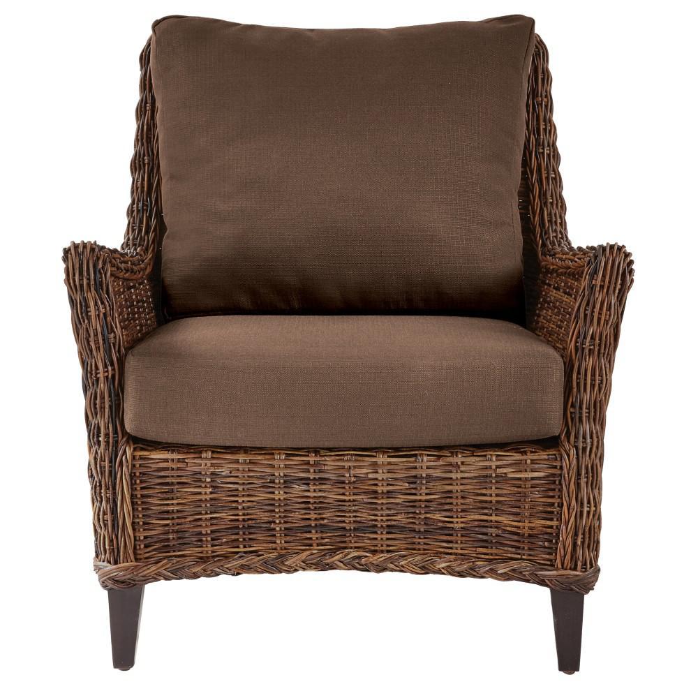 Genie Brown Weave Wicker Club Arm Chair