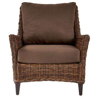 Genie Brown Weave Wicker Club Arm Chair