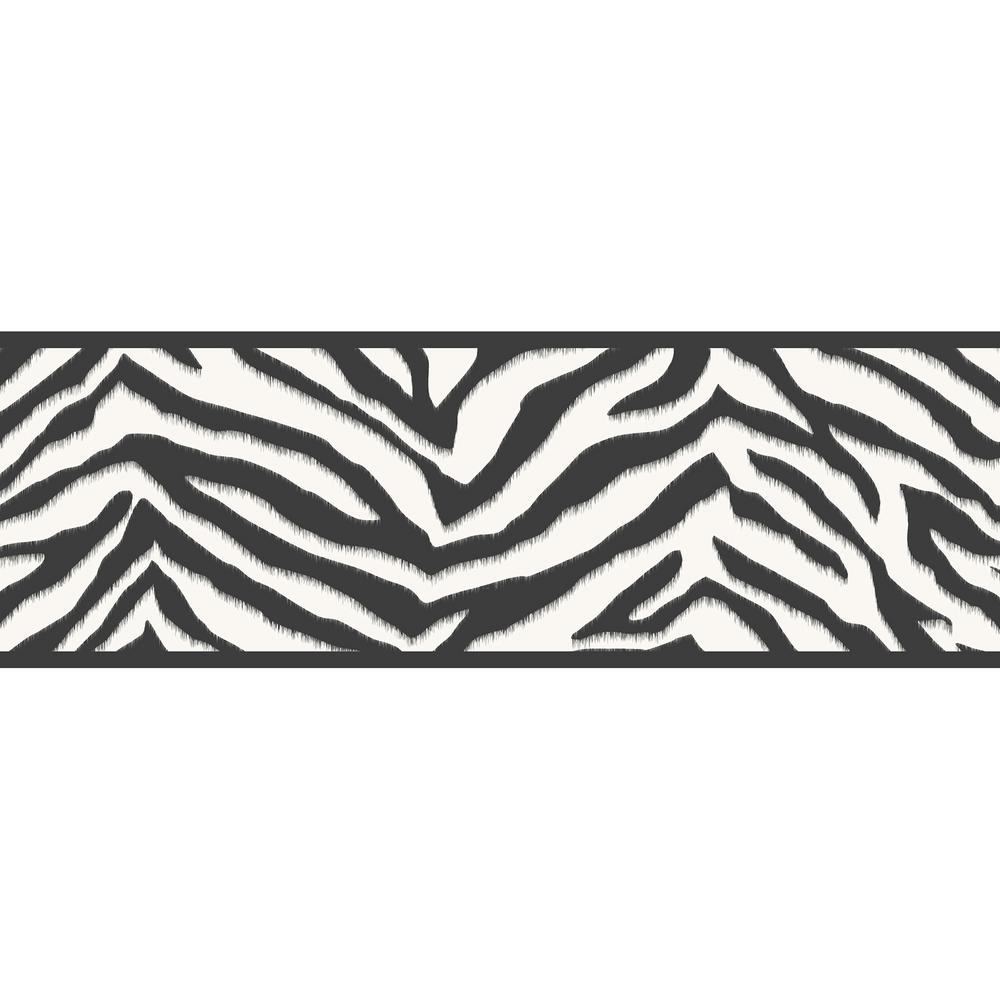 Mia Faux Zebra Stripes Wallpaper Border, Black
