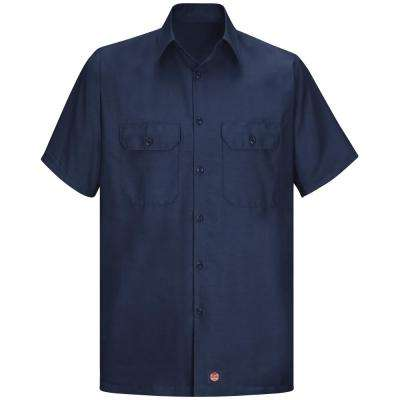 Men's Size L Navy Solid Rip Stop Shirt