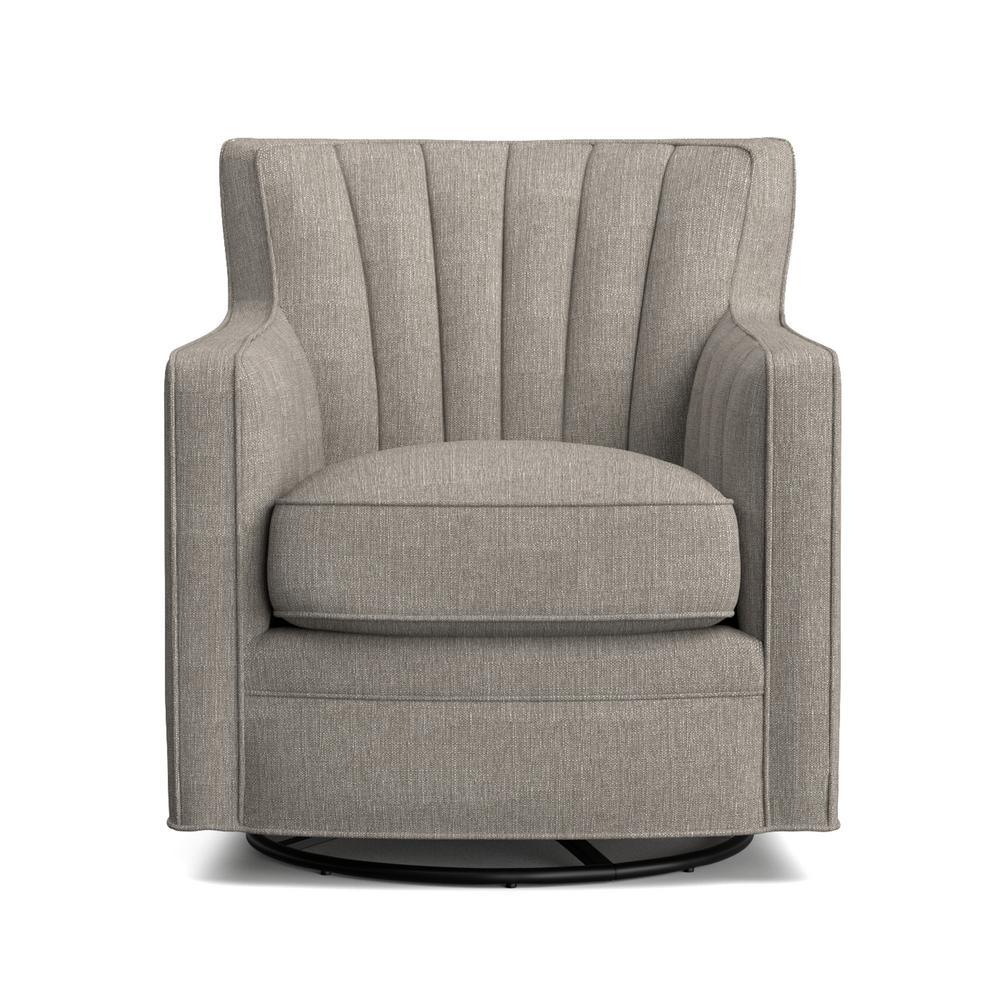 Deals on Handy Living Zahara Dove Gray Linen Swivel Arm Chair