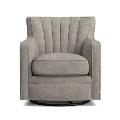 Zahara Dove Gray Linen Swivel Arm Chair