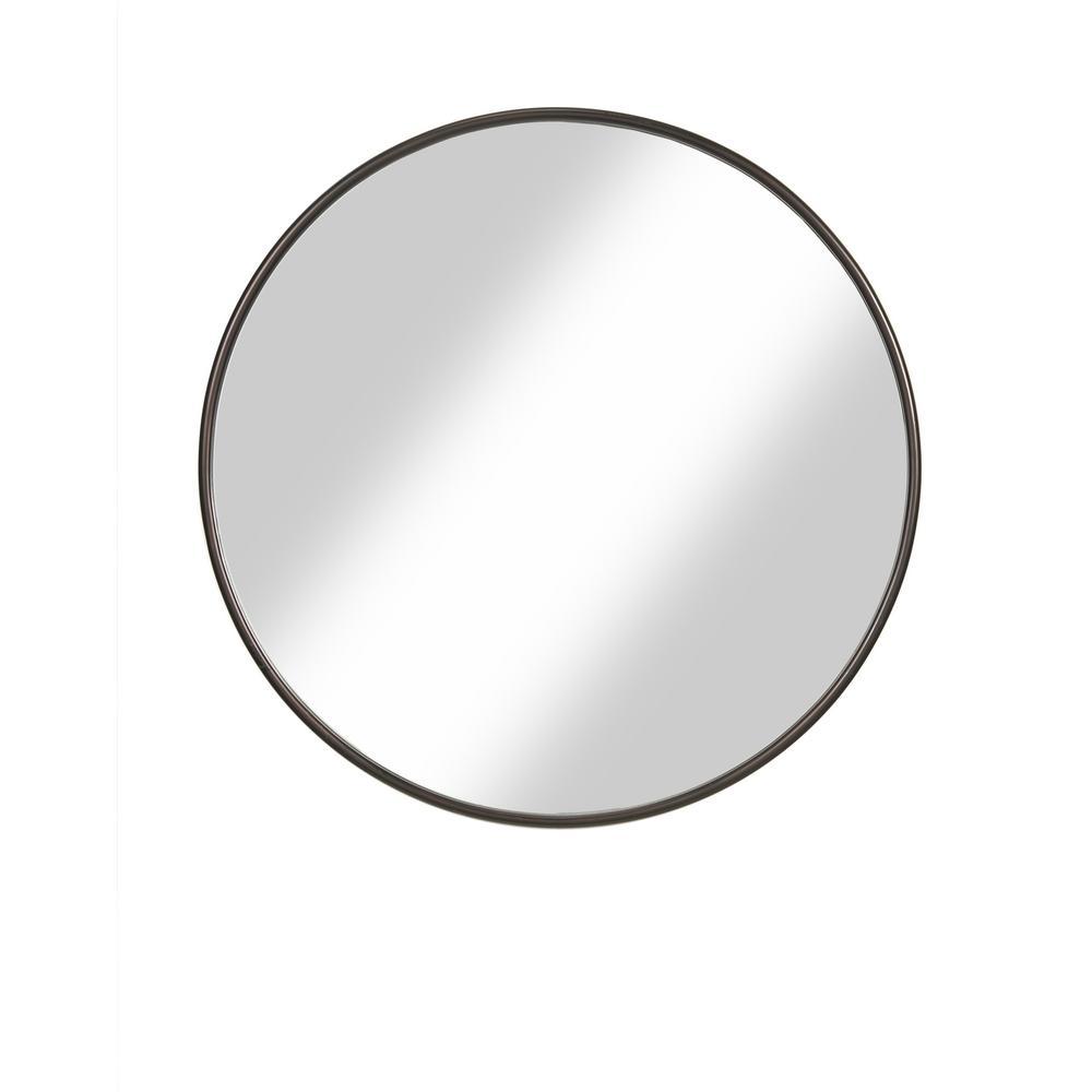 Medium Round Oil Rubbed Bronze Hooks Modern Mirror (30 in. H x 36 in. W)