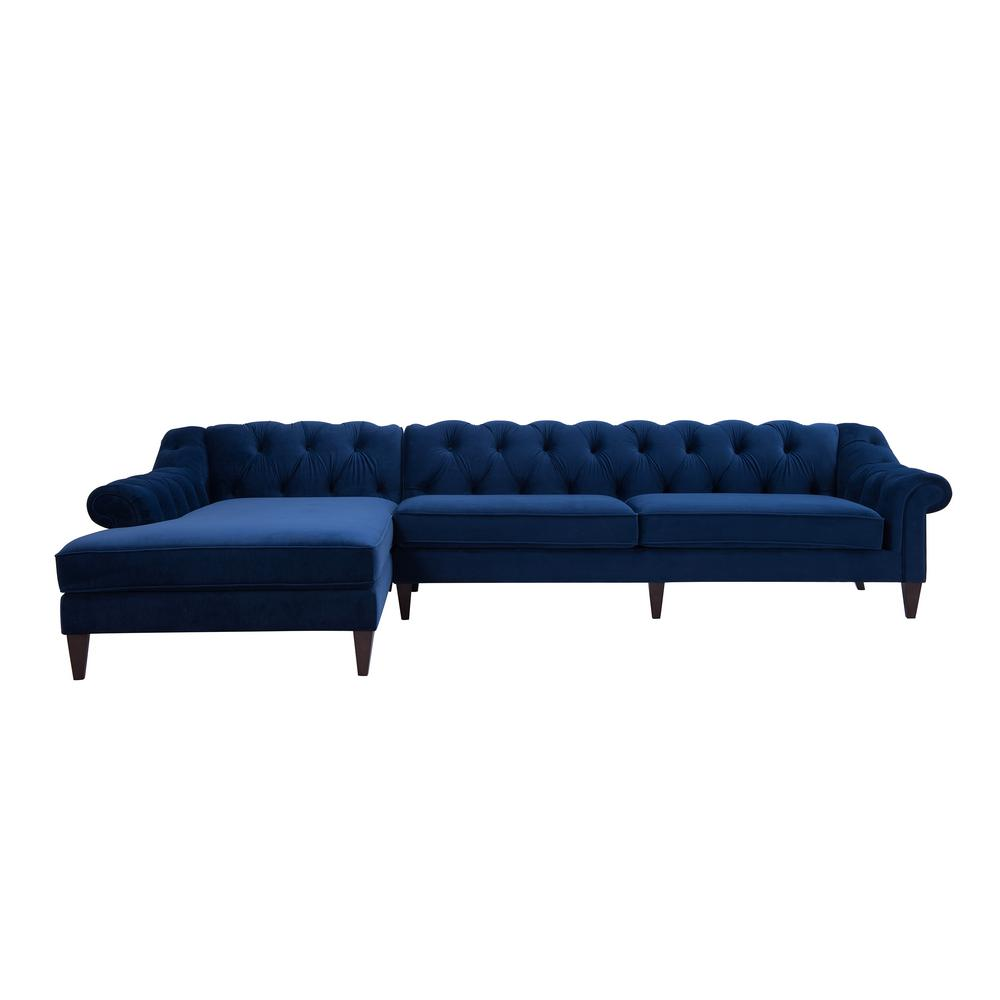 Jennifer Taylor Alexandra Navy Blue Button Tufted Linen 4 Seater L Shaped Left Facing Chaise Chesterfield Sectional Sofa 66070 L 859 The Home Depot