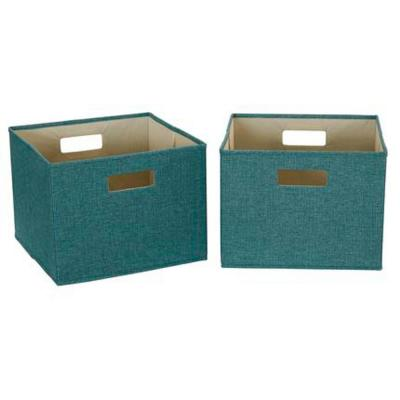 10 in. H x 13 in. W x 13 in. D Teal Canvas 1-Cube Storage Organizer