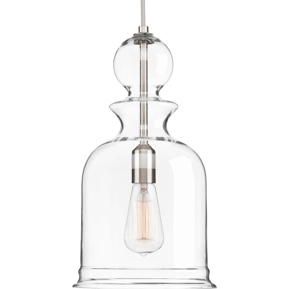 Staunton Collection 1-Light Brushed Nickel Pendant with Clear Glass