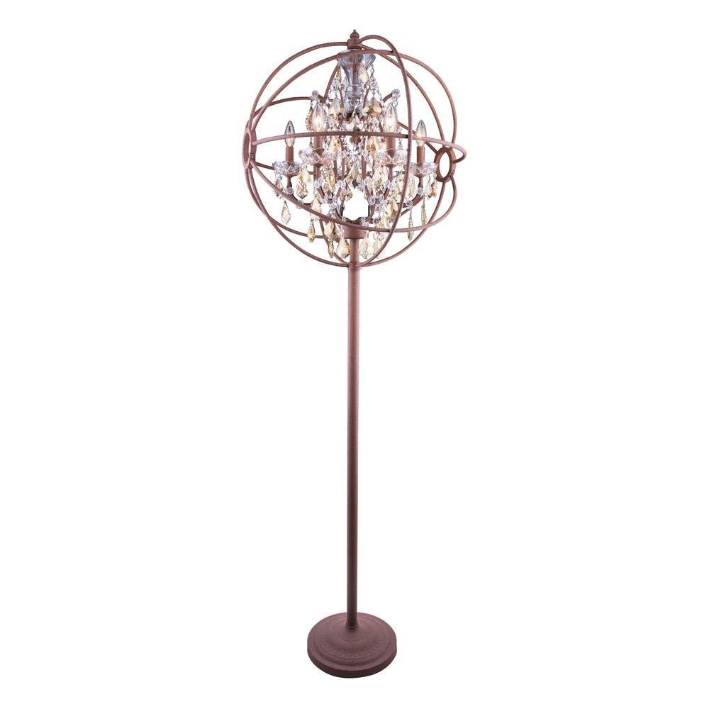 Geneva 71.5 in. Rustic Intent Floor Lamp with Golden Teak Smoky Crystal