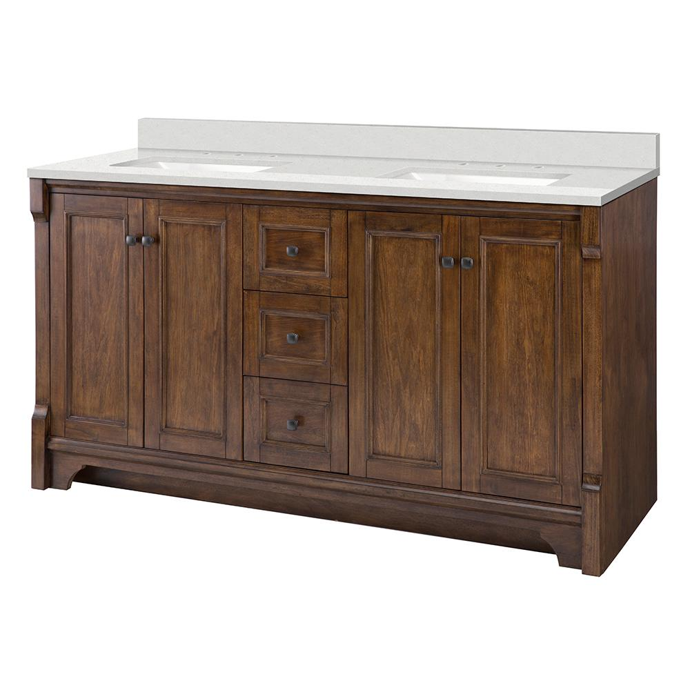 Home Decorators Collection Creedmoor 61 in. W x 22 in. D Vanity Cabinet in Walnut with Engineered Marble Vanity Top in Snowstorm with White Sink