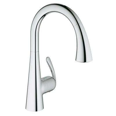LadyLux3 Cafe Single-Handle Pull-Down Sprayer Kitchen Faucet with Dual Spray in Starlight Chrome