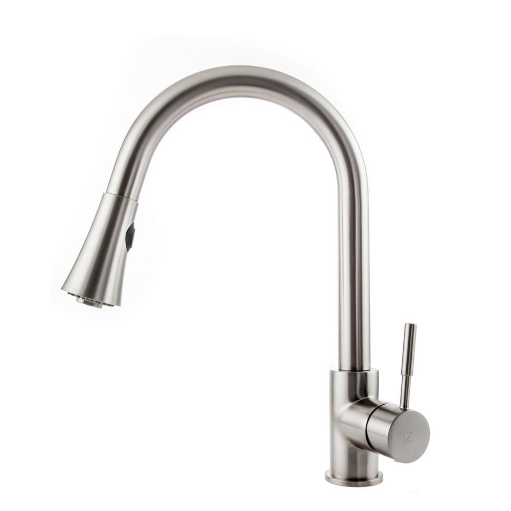 ZLINE Kitchen and Bath Edison Single-Handle Pull-Down Sprayer Kitchen Faucet in Stainless Steel