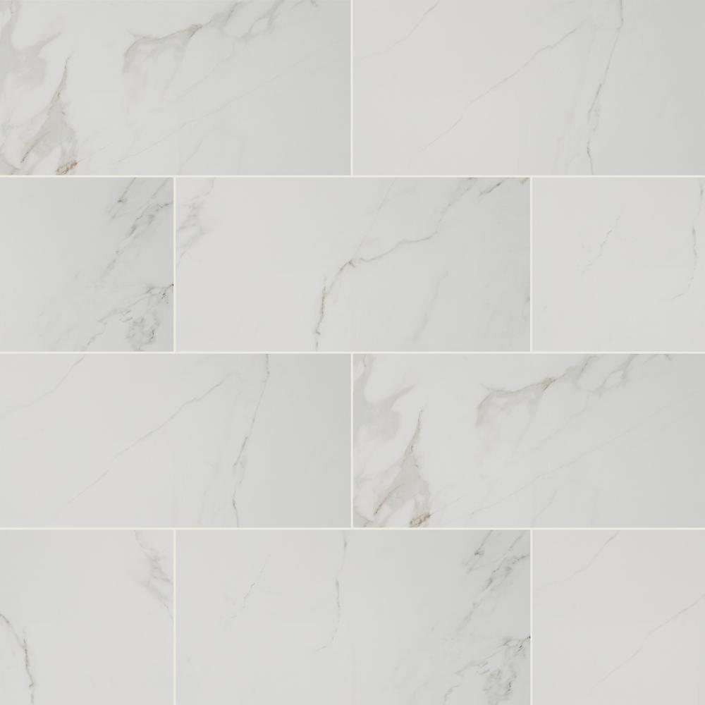 Home Decorators Collection 12 in. x 24 in. Carrara Polished Porcelain Floor and Wall Tile (16 sq. ft./case)