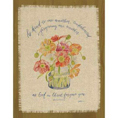 "GraceLaced for Carpentree ""be kind to one another.  Ephesians 4:32"" Printed Fringe Canvas on Wood Plaque"