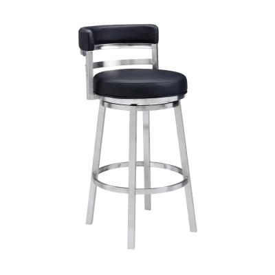 Madrid Contemporary 26 in. Counter Height Bar Stool in Brushed Stainless Steel and Black Faux Leather