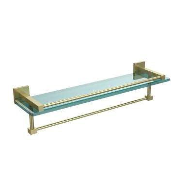 Montero 22 in. L  x 5-1/4 in. H  x 5-3/4 in. W Gallery Clear Glass Bathroom Shelf with Towel Bar in Satin Brass