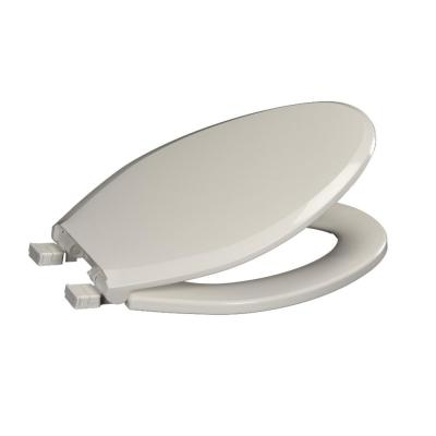 Elongated Closed Front Toilet Seat with Safety Close + Lift and Clean in White