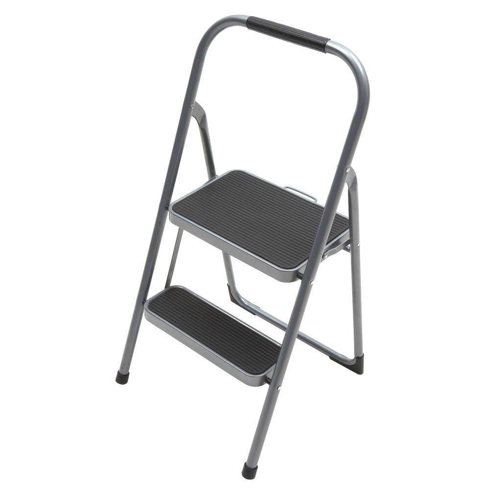 Gorilla Ladders 2-Step Steel High-Back Stool Ladder with Grip 200 lb. Load Capacity Type III Duty Rating