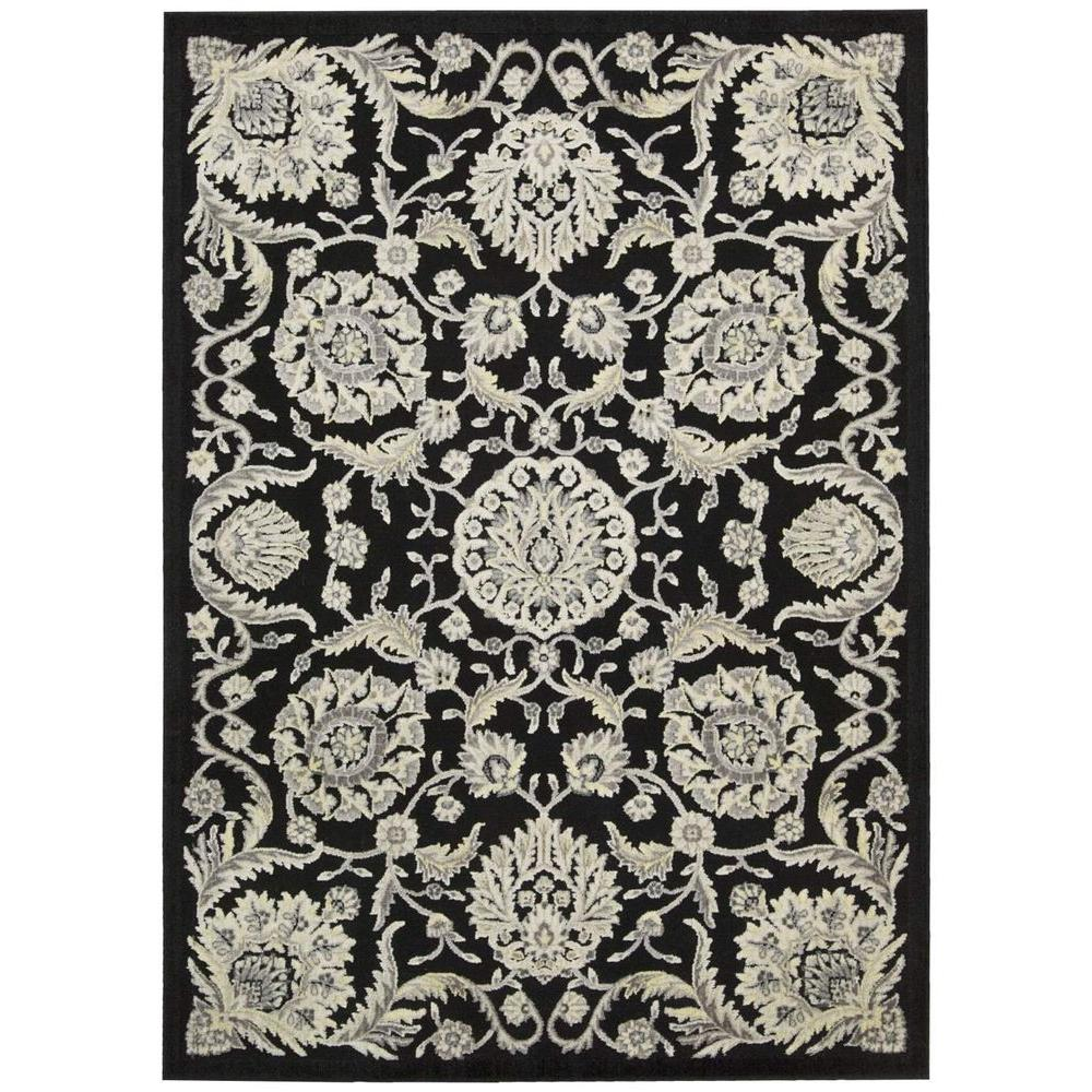 Nourison Graphic Illusions Black 3 ft. 6 in. x 5 ft. 6 in. Area Rug
