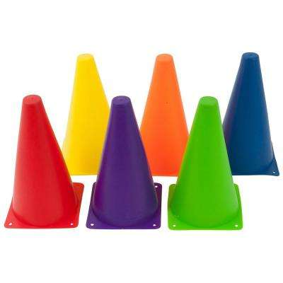 9 in. Plastic Sports Training Cone Mixed Colors (6-Pack)