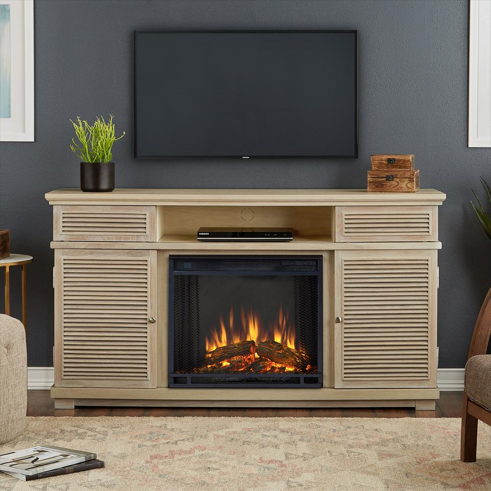 Cavallo 59 in. Electric Fireplace TV Stand Entertainment in Weathered White