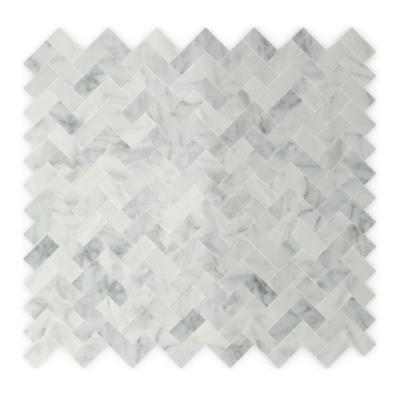 Ocean White and Gray 12.09 in. x 11.65 in. x 5mm Stone Self-Adhesive Wall Mosaic Tile