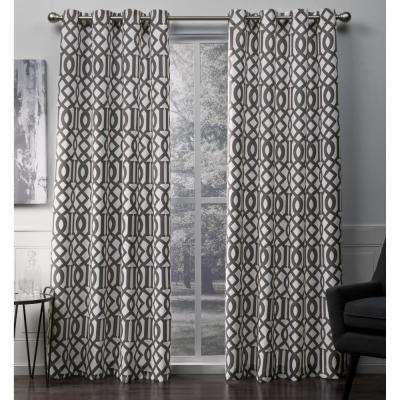 Scrollwork Winter White Gated Print Woven Sateen Grommet Top Window Curtain