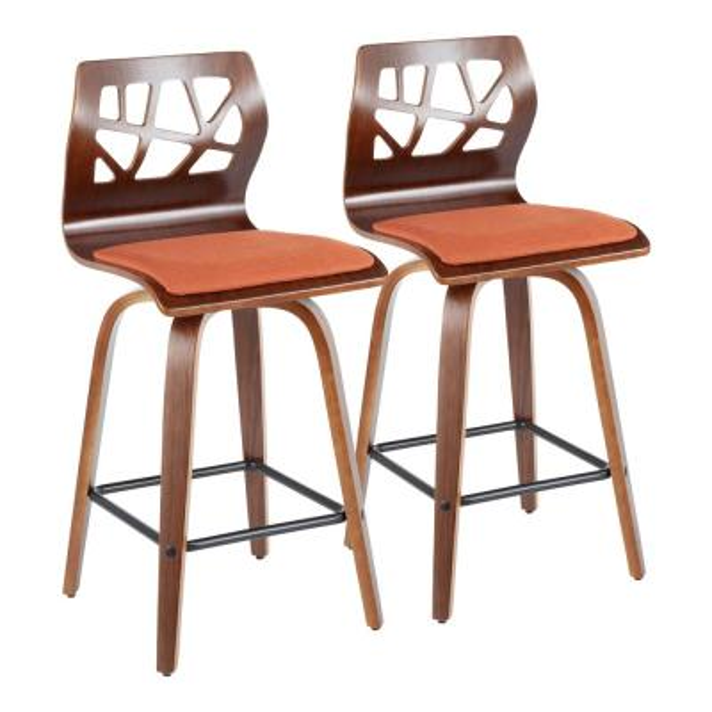 Folia 26 in. Walnut Wood and Orange Fabric Counter Stool (Set of 2)