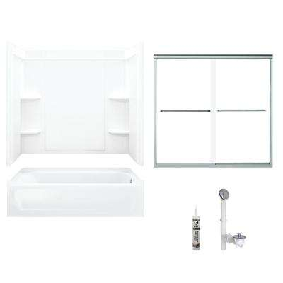 Ensemble 30 in. x 60 in. x 71 in. Bath and Shower Kit with Right-Hand Drain in White and Chrome