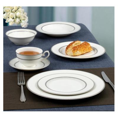 Arianna 28-Piece Formal Silver Band Bone China Dinnerware Set (Service for 4)
