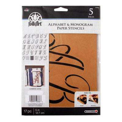 Script 5 in. Alphabet and Monogram Paper Stencil