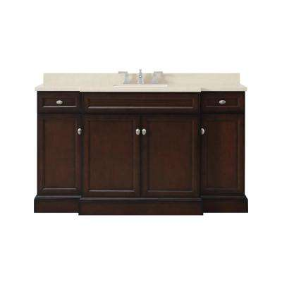 Teagen 58 in. W Bath Vanity in Dark Espresso with Cultured Stone Vanity Top in Beige with White Basin