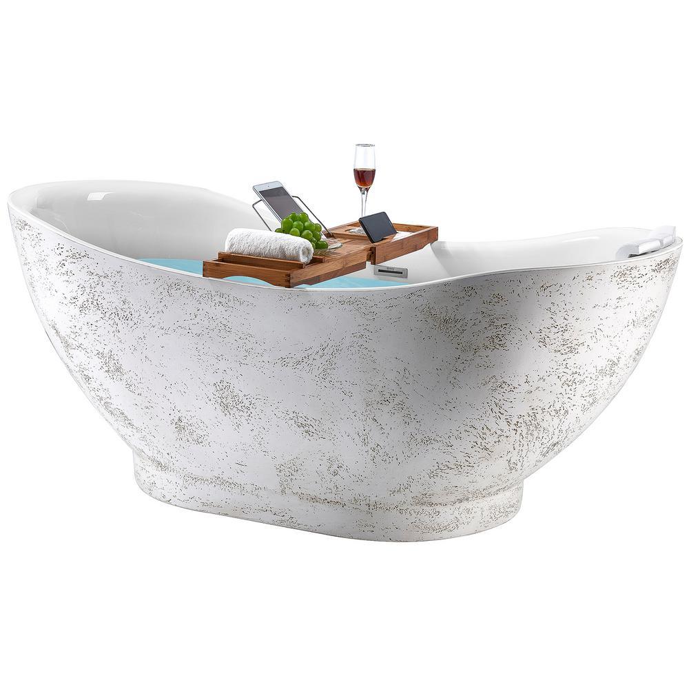 Freestanding 67 in. Acrylic Flatbottom Bathtub Modern Stand Alone Tub Luxurious SPA Tub in Light Pink