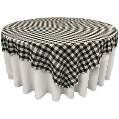"""""""72 in. x 72 in. White and Black Polyester Gingham Checkered Square Tablecloth"""""""