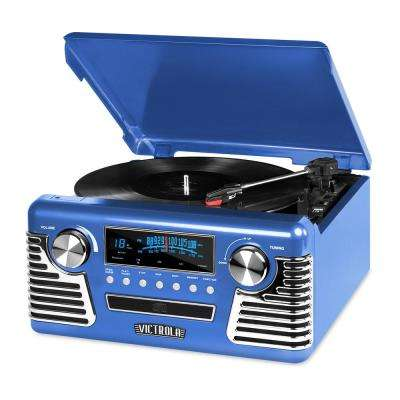 Retro Record Player with Bluetooth and 3-Speed Turntable in Blue