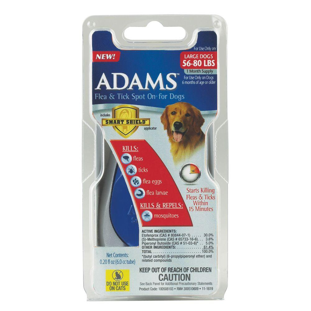 Adams Flea and Tick Spot On for Large Dogs 56 lbs. - 80 lbs. (1 Month Supply)