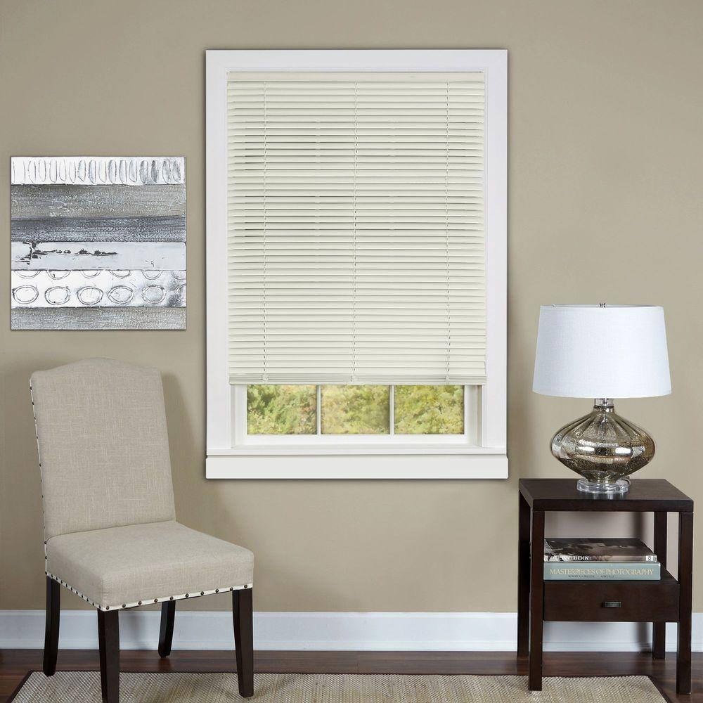Alabaster Cordless 1 in. Vinyl Deluxe Sundown Room Darkening Mini Blind