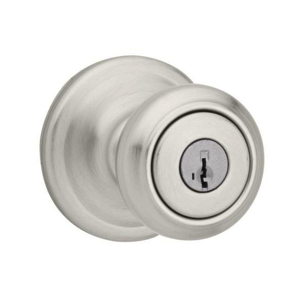 Cameron Satin Nickel Keyed Entry Door Knob featuring SmartKey Security