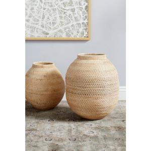 Large Decorative Handwoven Natural Beige Bamboo Vase