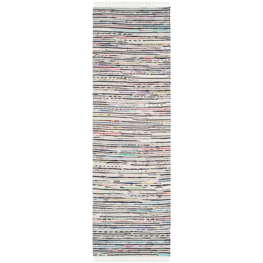 Rag Rug Ivory/Multi 2 ft. x 10 ft. Runner