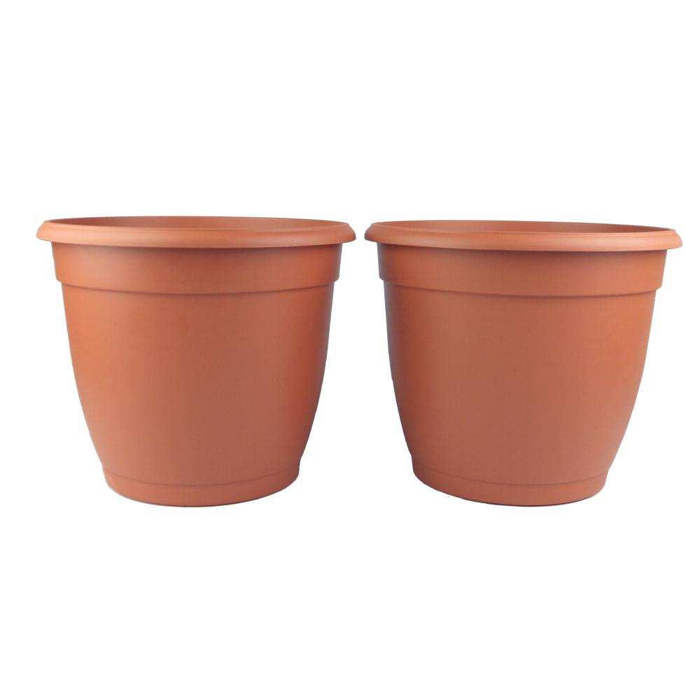 11 in. Decorative Terra Cotta Poly Planter (2-Pack)