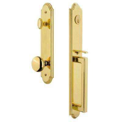 Arc 1-Piece 2-3/8 in. Backset Lifetime Brass Door Handleset with D Grip and Fifth Avenue Knob