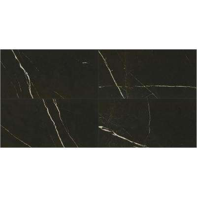 Marble View Black Marble Polished 12 in. x 24 in. Color Body Porcelain Floor and Wall Tile (15.12 sq. ft. / case)