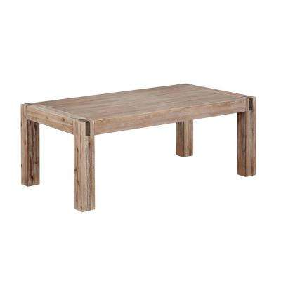Woodstock Brushed Driftwood 45 in. Acacia Wood with Metal Inset Coffee Table